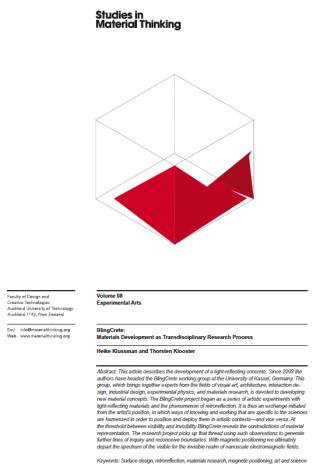 studies in material thinking klussmann klooster